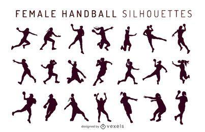 Conjunto de silhueta feminina de handebol