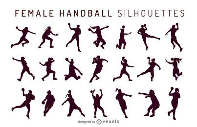 handball female silhouette set