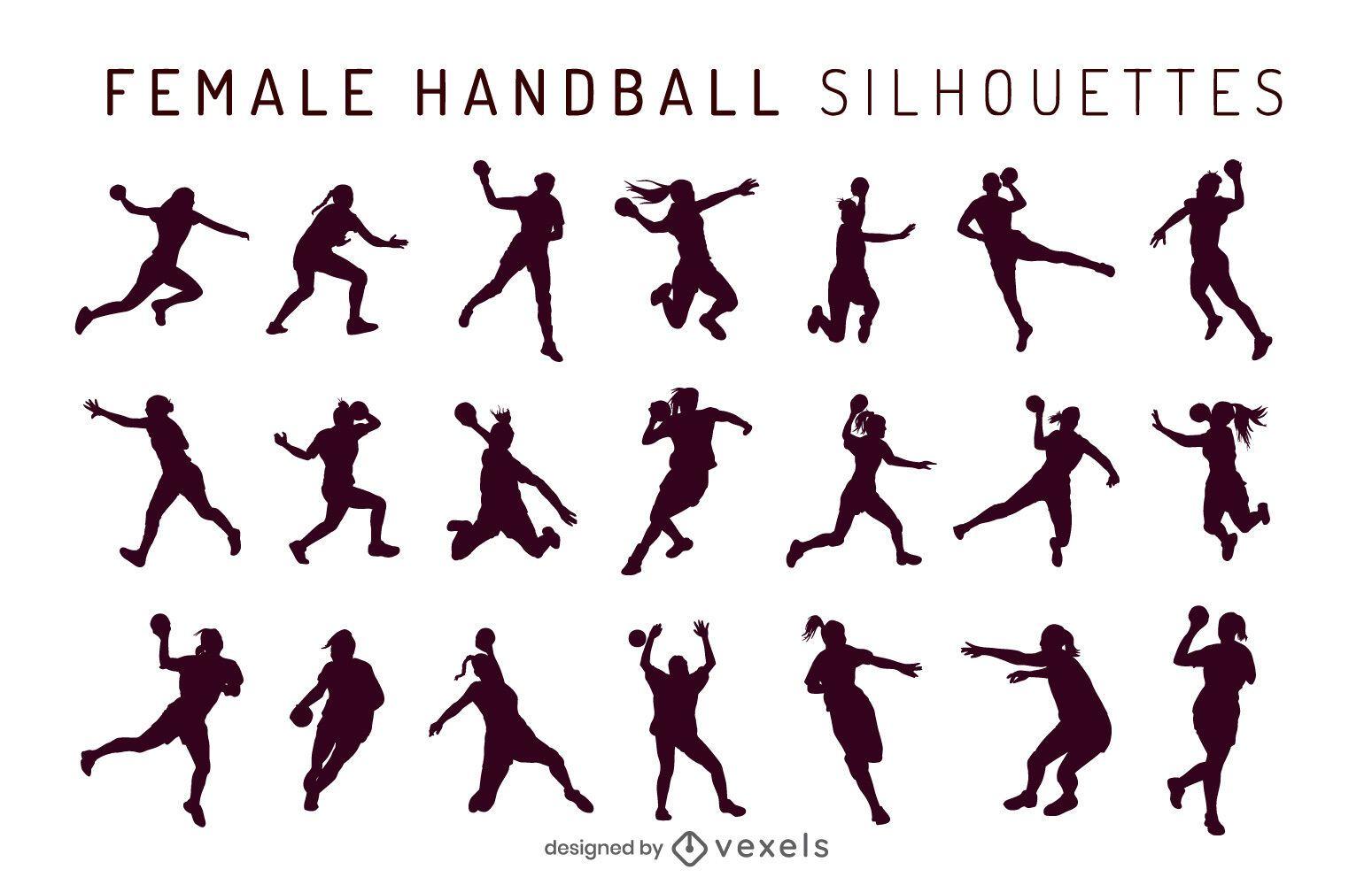 handball female silhouette set