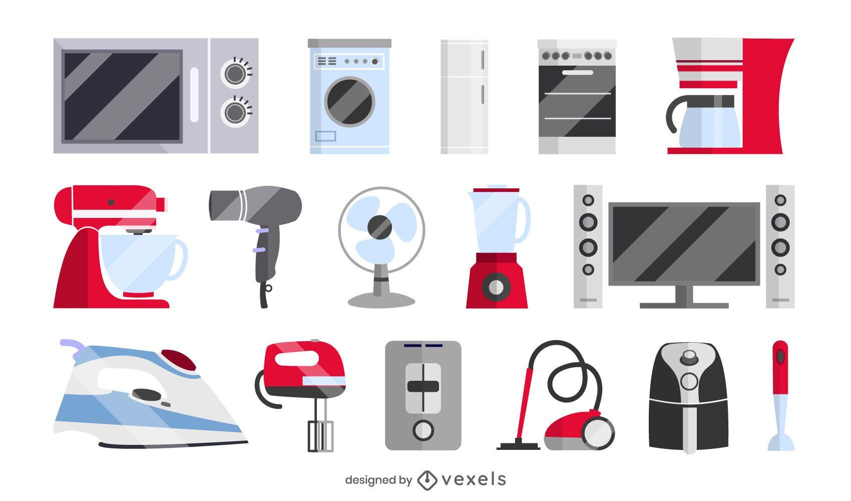 coleção de conjuntos de eletrodomésticos