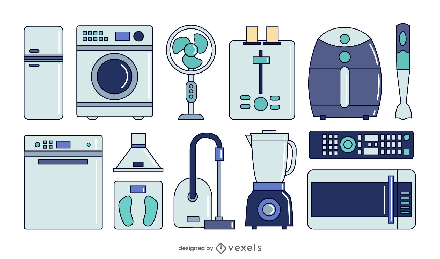 conjunto de coleta de eletrodomésticos