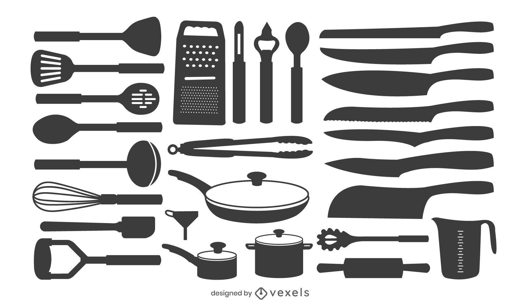 kitchen tools silhouette set