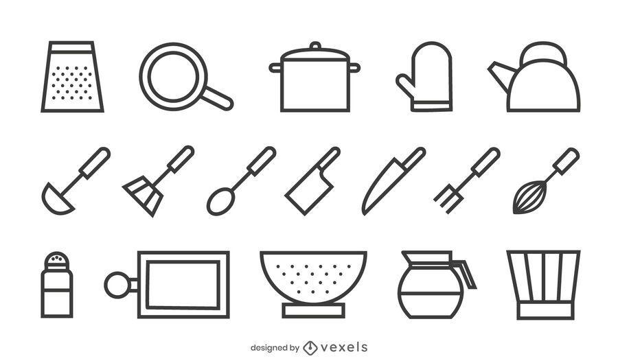 conjunto de ícones de traçado de ferramentas de cozinha