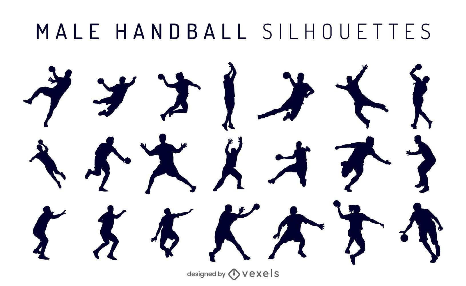 Male Handball Silhouette Pack