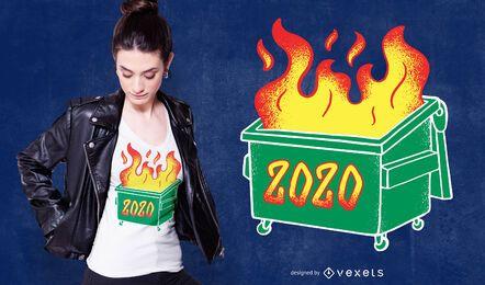 Projeto 2020 do t-shirt do fogo do lixo