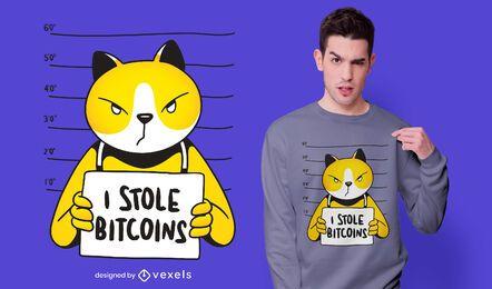Design de camiseta para ladrão de bitcoin para gatos