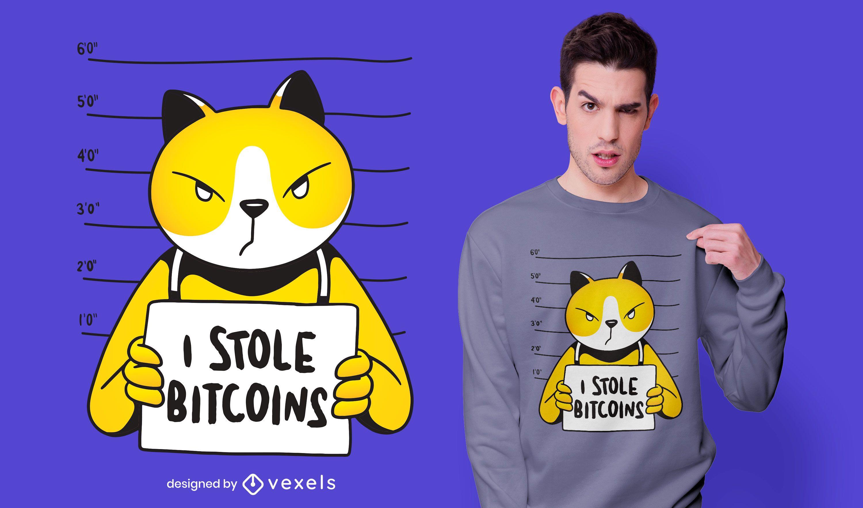 Cat Bitcoin Thief T-shirt Design