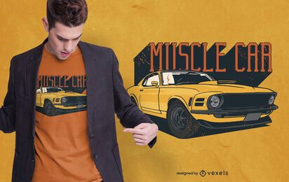 diseño de camiseta de muscle car