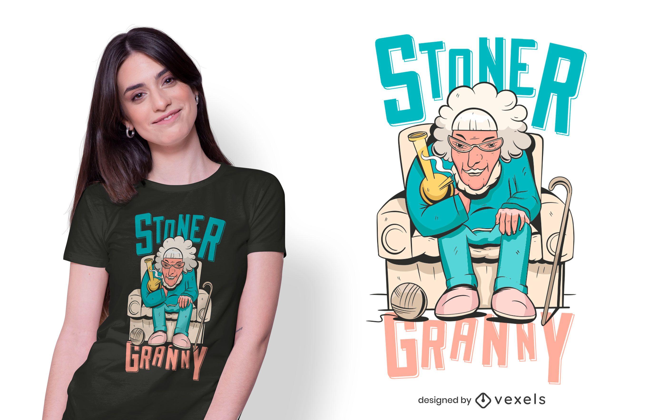 design de t-shirt da avó stoner