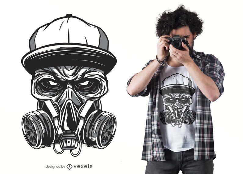 Design de t-shirt de zumbi de máscara de gás