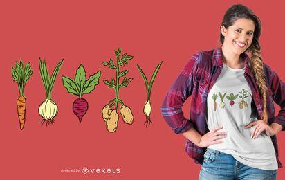 ilustração de camiseta de legumes