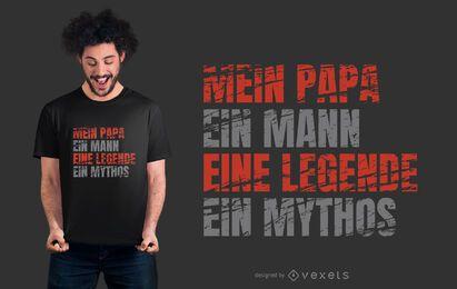 Diseño de camiseta de texto alemán de papá