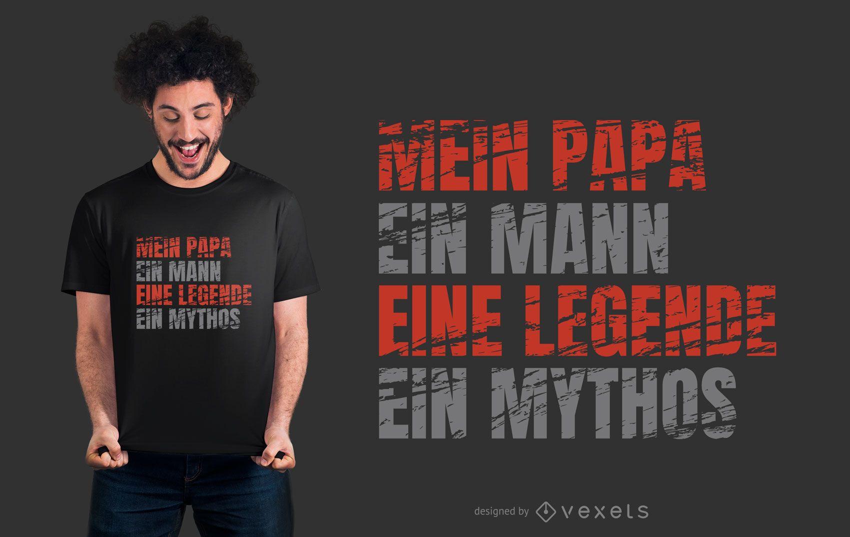 Design de t-shirt do papai com texto em alemão