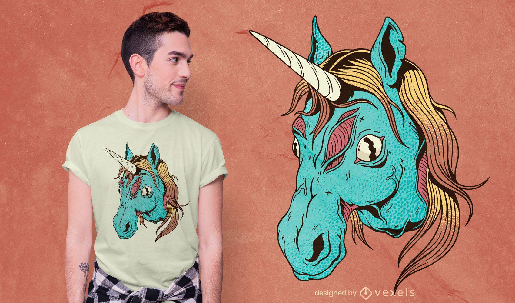 Diseño de camiseta Zombie Unicorn Head