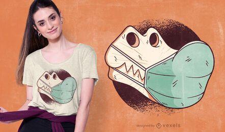 Design de t-shirt de máscara facial de crânio de T-rex
