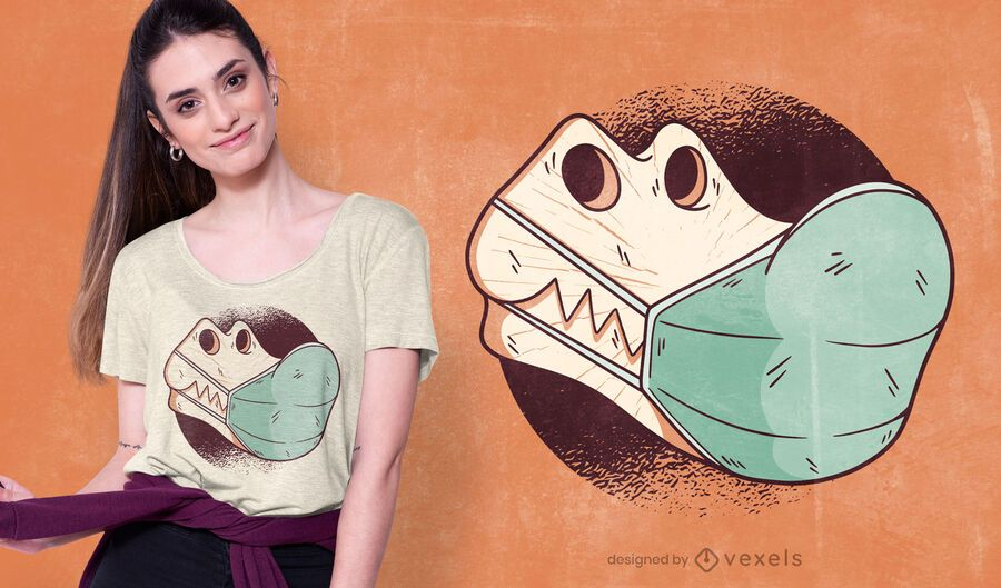 T-rex Skull Face Mask T-shirt Design