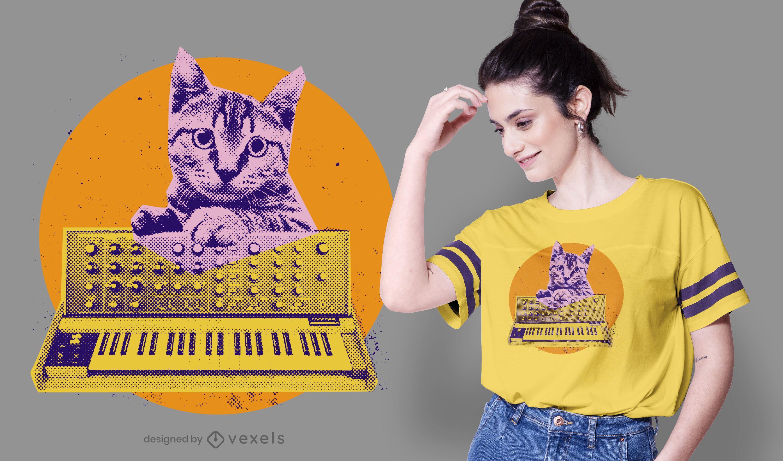 Design de camiseta sintetizador Cat