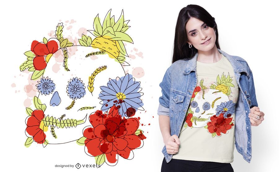 Diseño de camiseta de calavera floral de acuarela