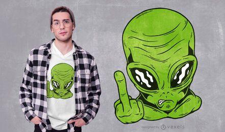 Design de camiseta alienígena flip off