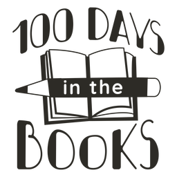100 days in books school lettering