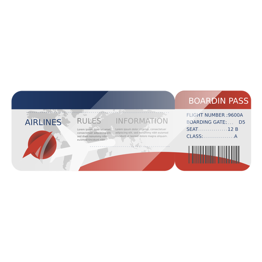 Airline boarding pass flat