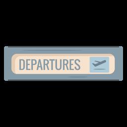 Icono de signo de salidas del aeropuerto plano