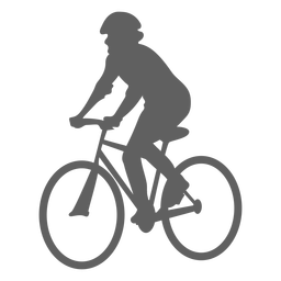 Angled cyclist silhouette