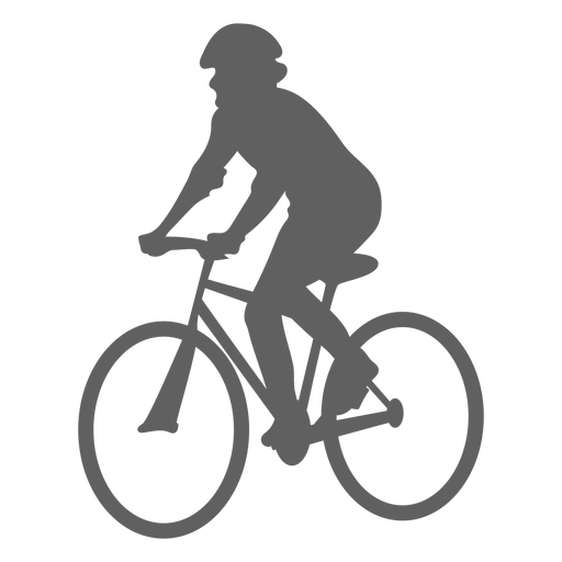 Silueta de ciclista en ángulo