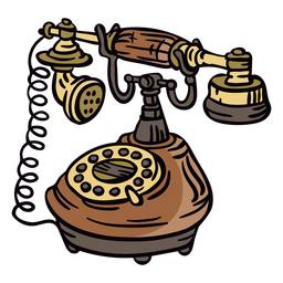 Angled hand drawn classic rotary phone