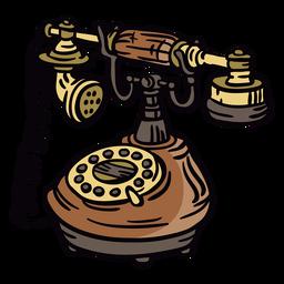 Telefone giratório clássico desenhado de mão em ângulo