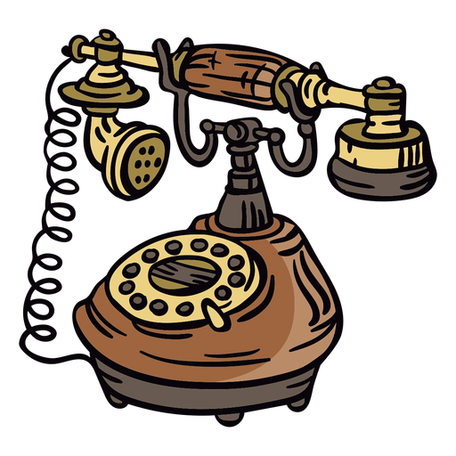 Angled hand drawn classic rotary phone Transparent PNG