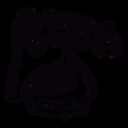 Contorno de telefone rotativo clássico desenhado de mão em ângulo
