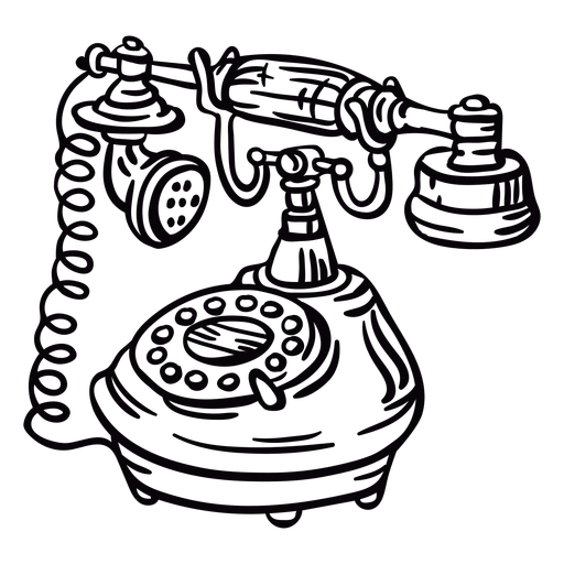 Angled hand drawn classic rotary phone outline Transparent PNG