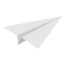 Angled paper airplane flat