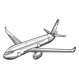 Angled view passenger airplane outline