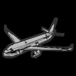 Vista en ángulo del contorno del avión de pasajeros