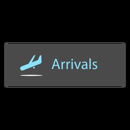 Icono de signo de aeropuerto de llegada
