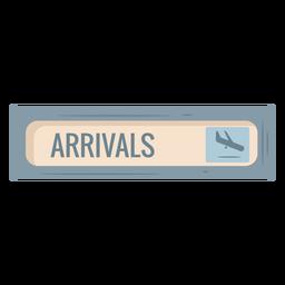 Icono de signo de aeropuerto de llegadas