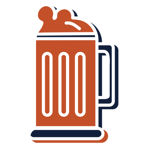 Beer mug brown blue hobby emblem flat