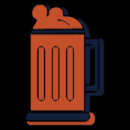 Jarra de cerveza emblema de hobby azul marrón plano