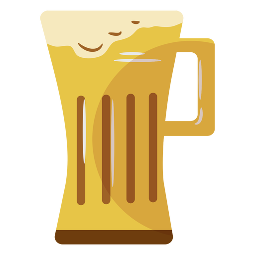 Beer mug yellow flat symbol