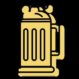 Beer mug yellow icon flat