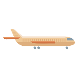 Beige airplane profile icon flat