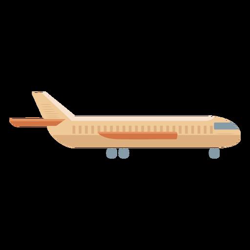 Beige airplane profile icon flat