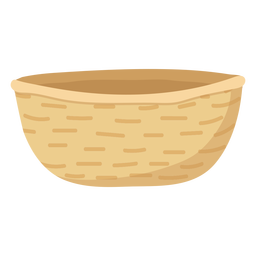 Beige basket flat illustration