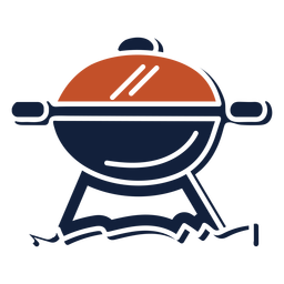 Blue red duotone bbq grill icon