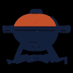 Ícone de churrasqueira azul vermelho duotônico