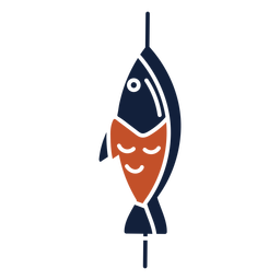 Blue red duotone skewered fish icon flat