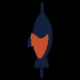 Icono de pescado ensartado duotono rojo azul plano