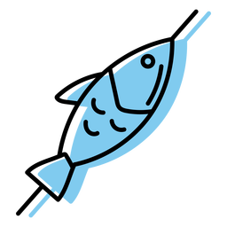 Blue skewered fish icon flat